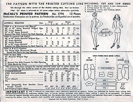Amazoncom Vintage 1953 Mccalls Pattern 1776 Size 10 Leotard