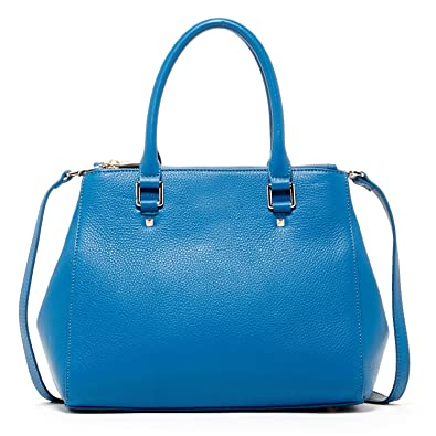 Leather Satchel Bags For Women Blue Top Handle Structured Work Tote Purses  and Handbags Classic Designer Bag with Cross body Stylish Over The Shoulder  Strap ... 881b203735b1