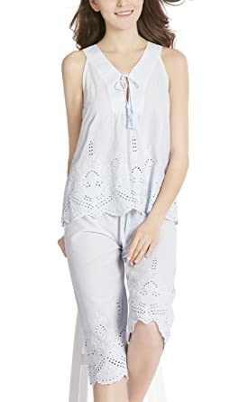 16dacd529781 Ink+Ivy Summer Pajamas Set for Women - 100% Cotton Capri Pajama ...