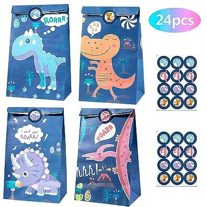 MOOKIN ROAM 24 piezas Dinosaurio Bolsas de Papel Regalo Kraft Bolsa de Fiesta Biodegradable Regalos Comunión con 24 Pegatinas para Pascua Boda, Niños ...