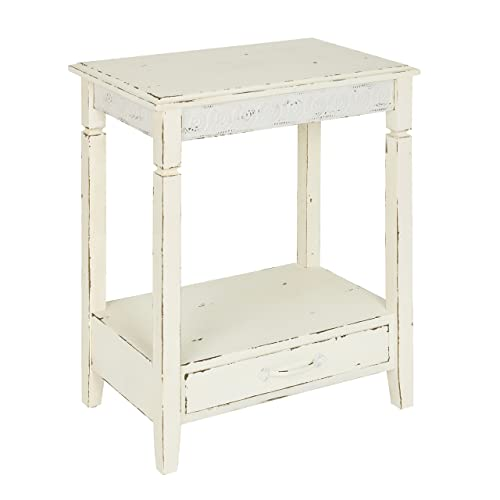 Kate and Laurel 211970 Idabelle Wood Side Table with Drawer, 13.5x22x27.75, Cream