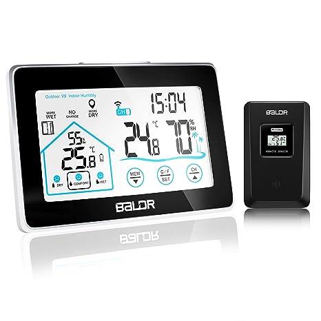 beautlife estación meteorológica Estación meteorológica inalámbrica con sensor exterior higrómetro digital Termómetro mesa Reloj despertador pantalla