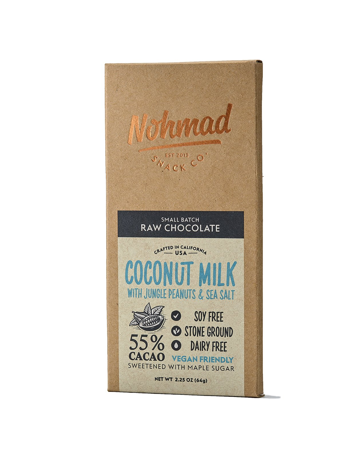 Nohmad Snack Co - Raw Chocolate - Coconut Milk w/Jungle Peanuts & Sea Salt - 55% Cacao - Vegan Friendly (2 pack) by Nohmad Snack Co