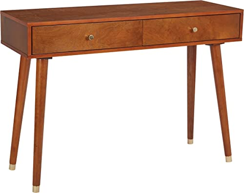 OSP Designs Cupertino Console Table, Light Walnut