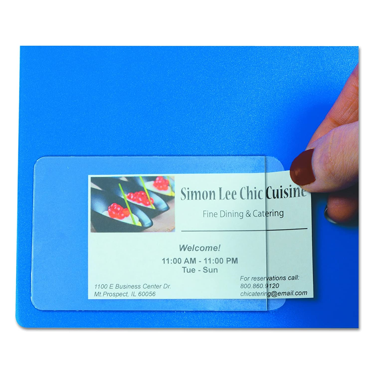 c line self adhesive business card holders