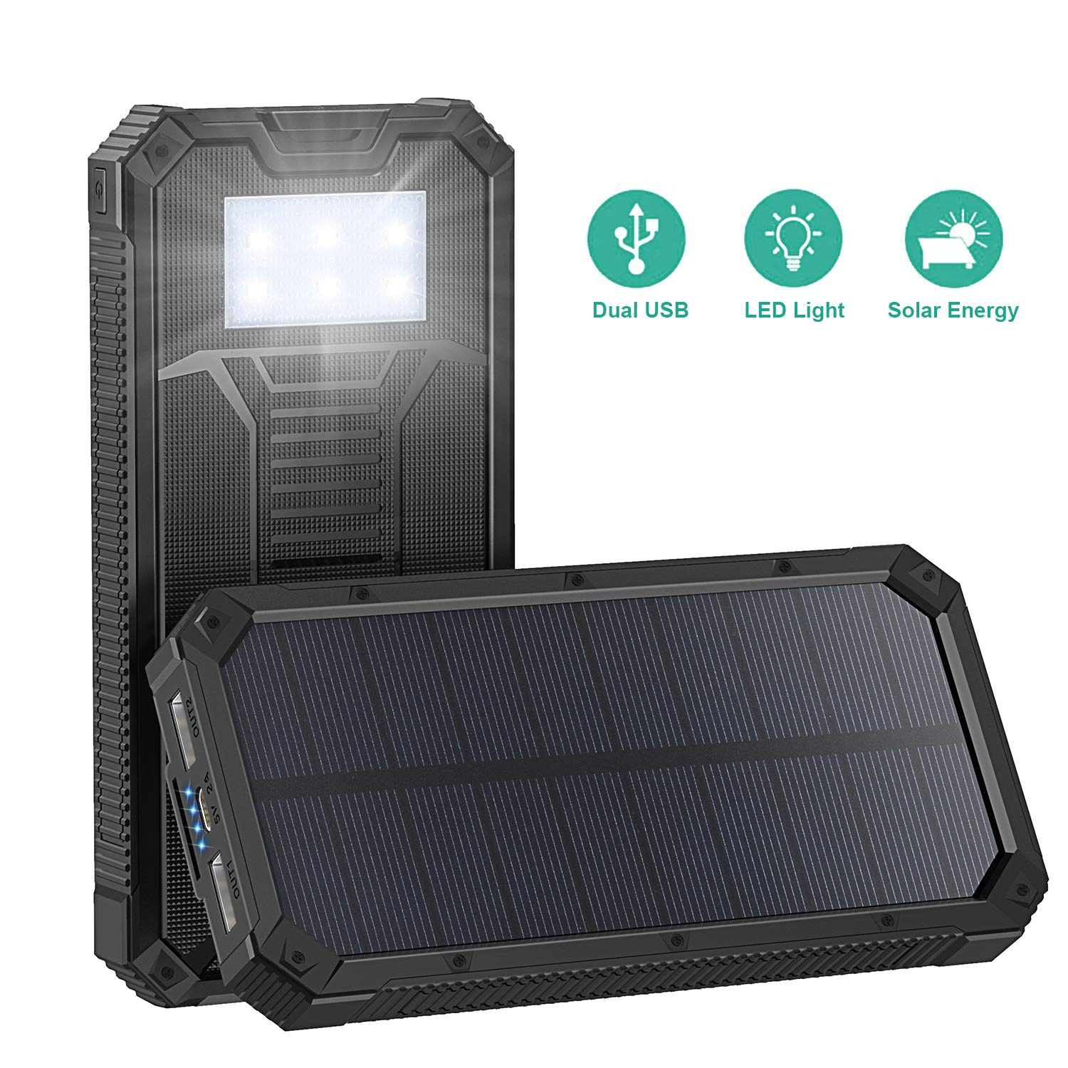 Solar Charger, STOON 15000mAh Solar Power Bank Phone Charger with Dual USB Ports for iPhone, iPad, Galaxy and More, Portable External Battery Pack with 6 LED Lights for Outdoor Camping Travelling by STOON