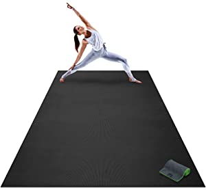"Premium Extra Large Yoga Mat - 9' x 6' x 8mm Extra Thick & Comfortable, Non-Toxic, Non-Slip, Barefoot Exercise Mat - Yoga, Stretching, Cardio Workout Mats Home Gym Flooring (108"" Long x 72"" Wide)"