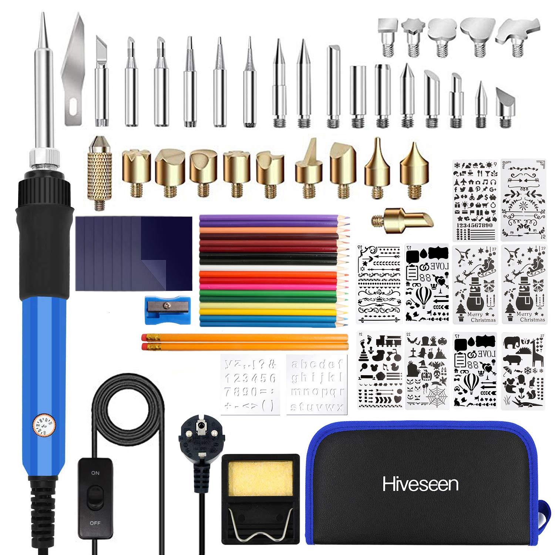 Hiveseen 76PCs Pirografia Legna Kit/&Saldatura Elettrica Kit Sughero 60W Temperatura Regolabile 140cm Cavo di Alimentazione e interruttore Attrezzi Incisione Professionale per Cuoio