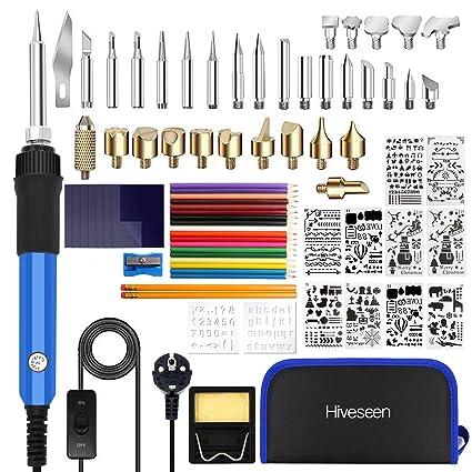 Hiveseen 76PCs Kit Pirograbador de Madera, 60W Temperatura Regulable(200-450℃), 1.4m Cable con interruptor, Soldador Pirografo Electrico Profesional Para ...