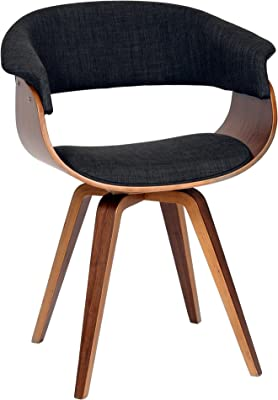 Armen Living LCSUCHWACH Summer Chair in Charcoal Fabric and Walnut Wood Finish
