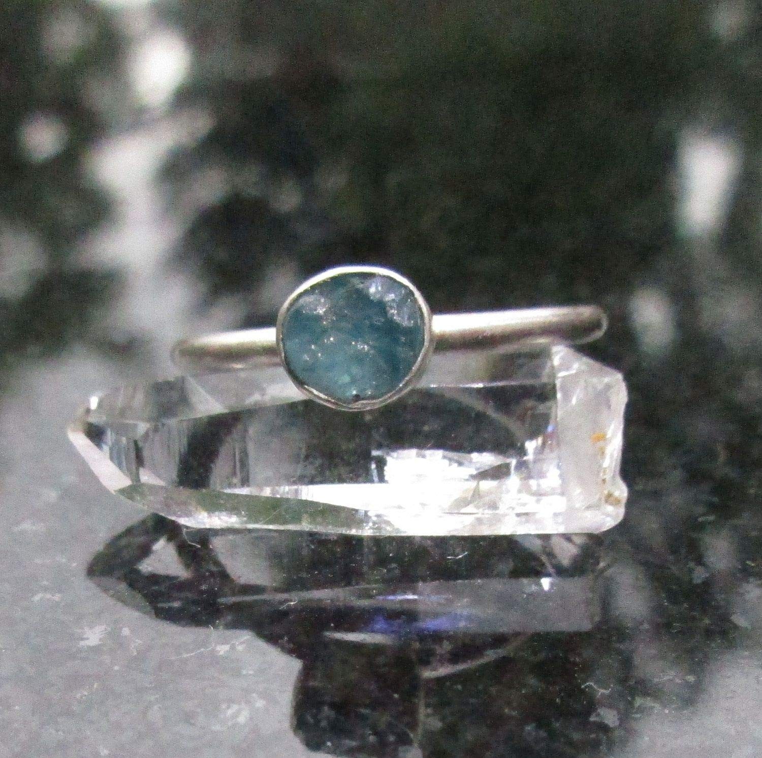 Gift for Her Stackable Ring Raw Gemstone Raw Stone Ring Size 7 Rough Stone Ring Solid 925 Sterling Silver Blue Apatite Gemstone Ring