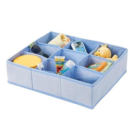 MetroDecor mDesign Caja de almacenaje para Habitaciones Infantiles o baños – Cesta organizadora con 9 Compartimentos