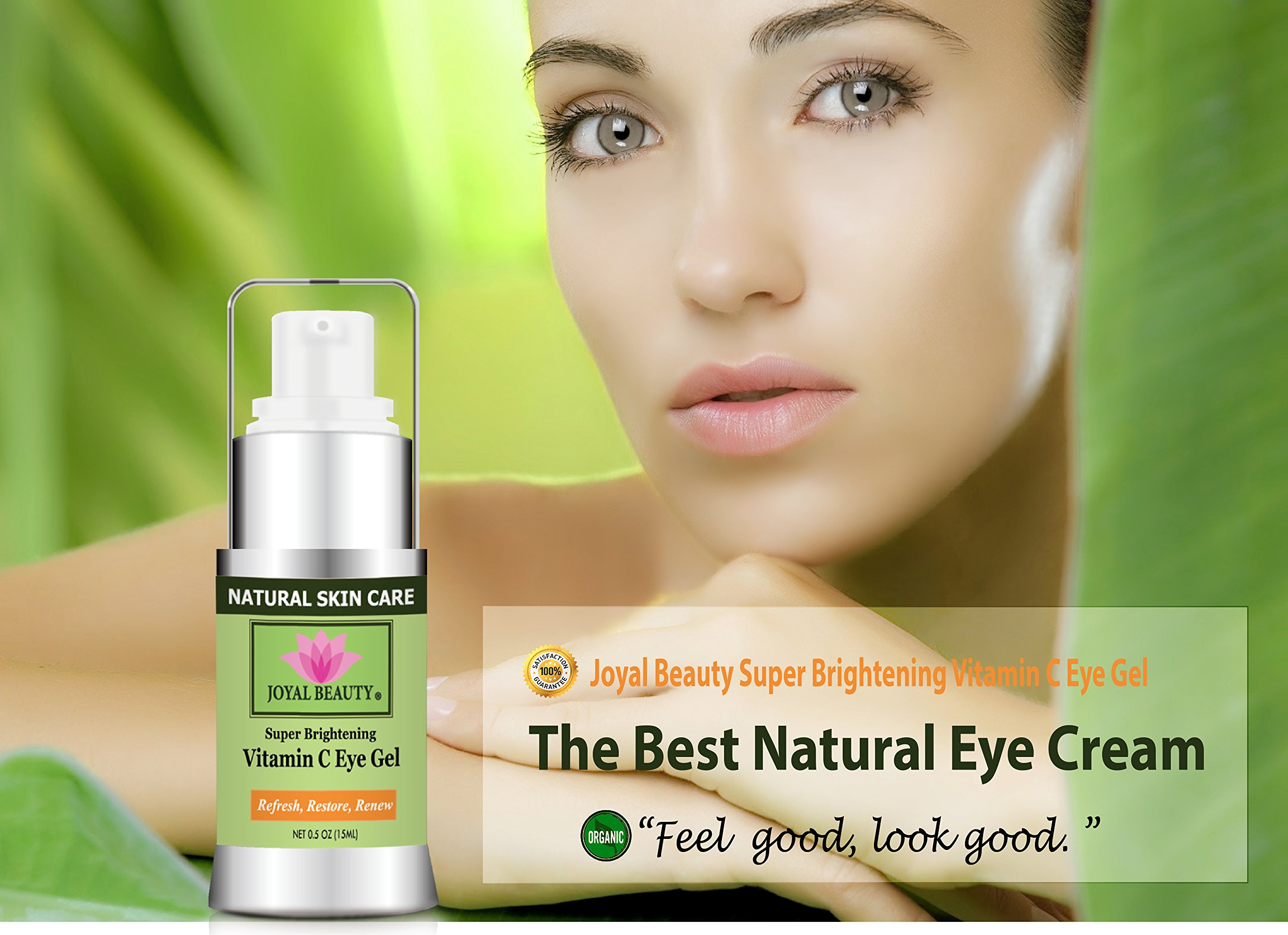 Joyal Beauty Best Organic Eye Cream Gel Moisturizer for Dark Circles and Puffiness Bags Anti Aging Fine Lines and Wrinkles with Hyaluronic Acid Vitamin C Caffeine Peptide Cucumber for Men and Women by Joyal Beauty (Image #3)