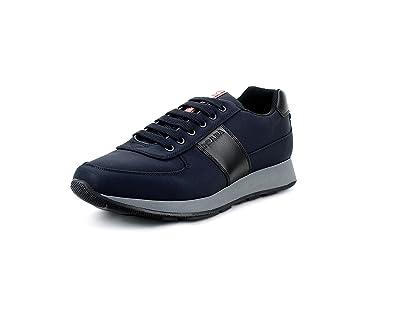 717bb3914a33c2 Prada Men's Nylon Tech Trainer Sneaker, Blue/Black 4E3341 (12.5 US / 11.5