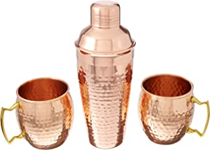 Twine Old Kentucky Home Decor Bar Cart Alcohol Cocktail Shaker, Moscow Mule Cups and Barware, Copper