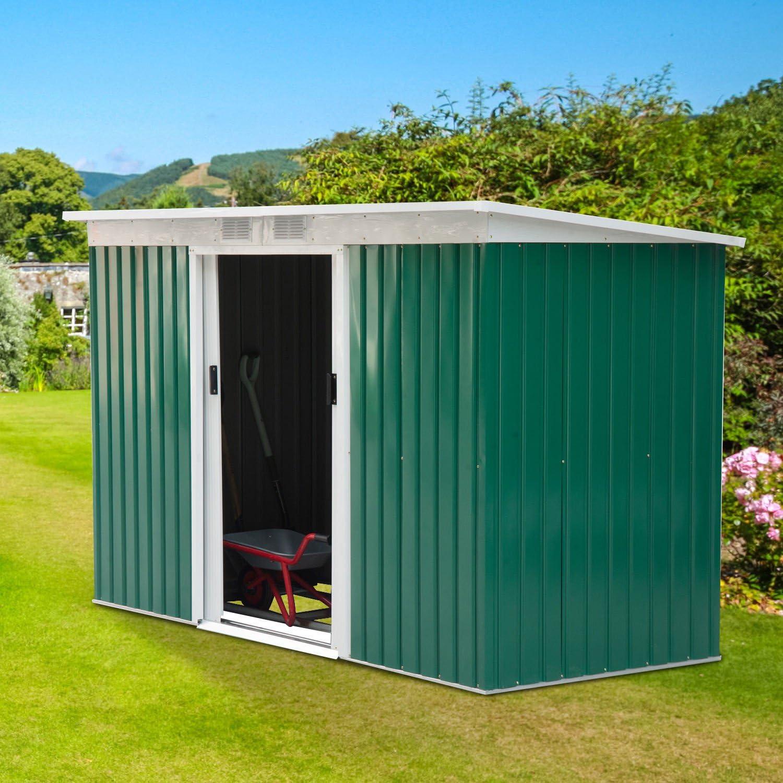 Outsunny Caseta de Jardín Tipo Cobertizo Metálico para Almacenamiento de Herramientas Base Incluida 277x130x173cm ...