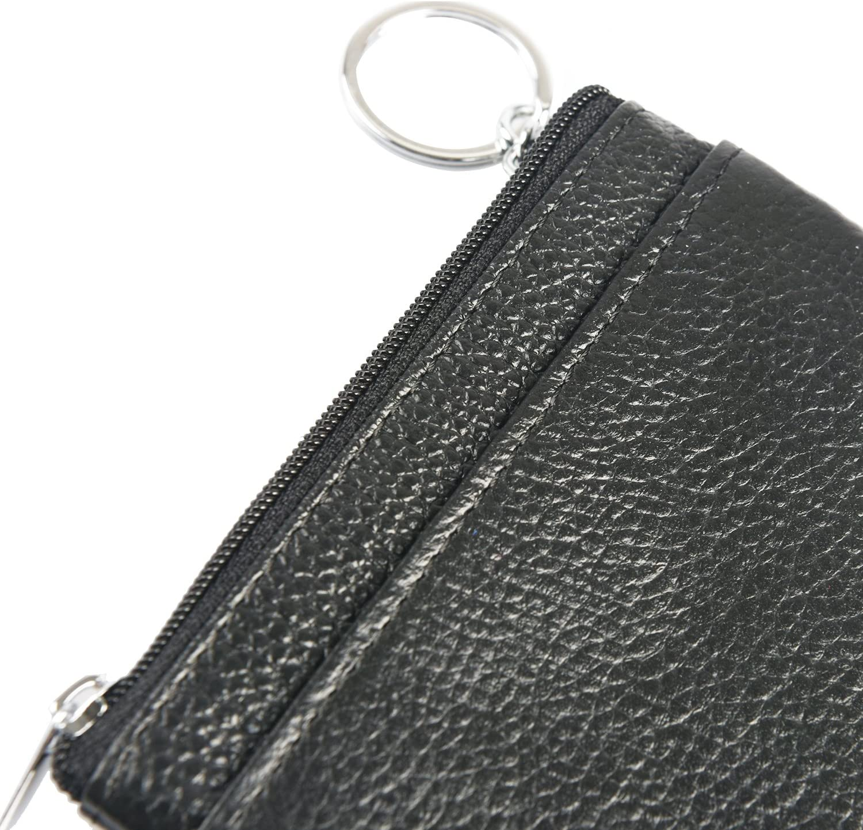 Porte-Monnaie en Cuir 3 Fermetures /éclair Mini Pochette Porte-Monnaie Portefeuille Homme Femme Noir