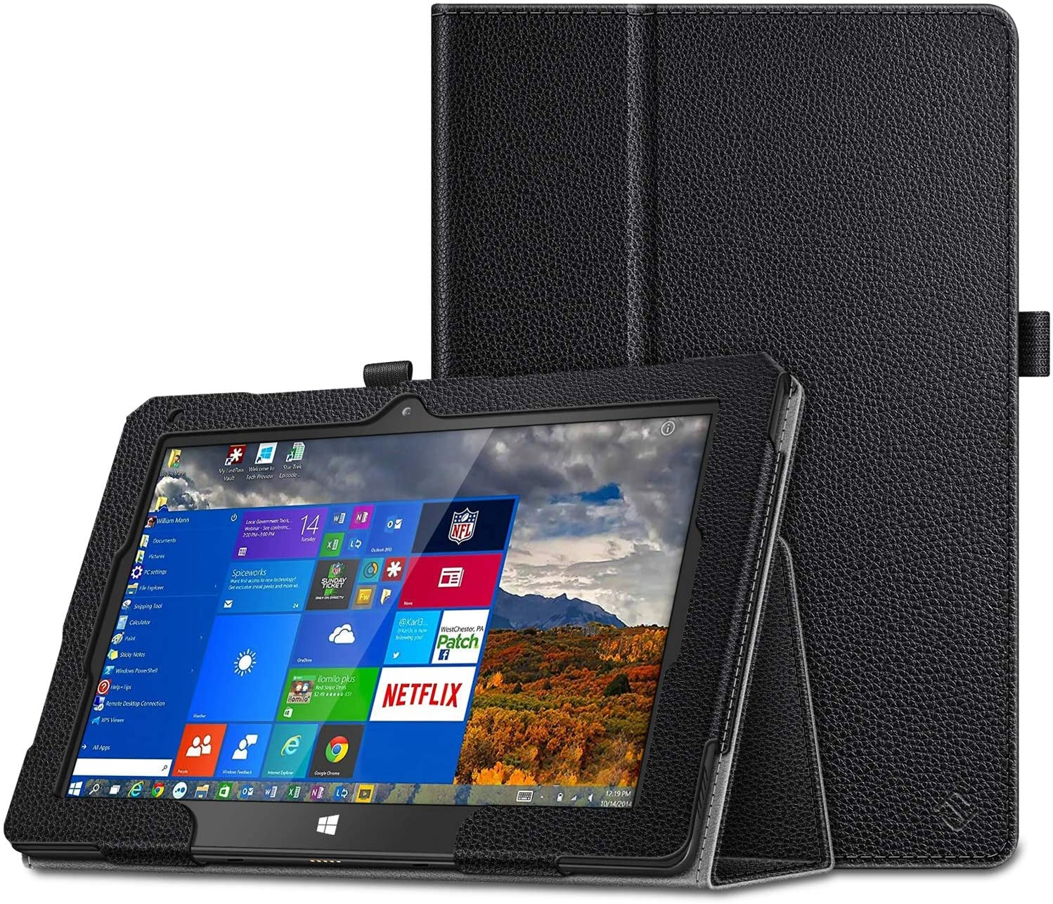 Fintie Case for Fusion5 Windows 10 FWIN232 Plus S1 / FWIN232 PRO S1 Tablet [Not for FWIN232 S2] - Folio Protective Stand Cover with Auto Wake/Sleep (Black)