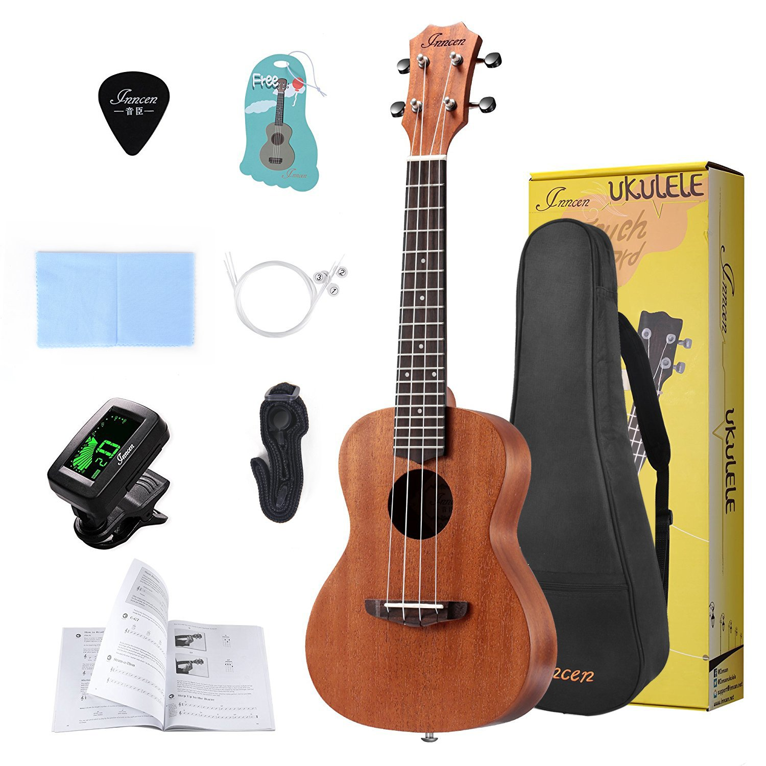 Concert Ukulele, 23 Inch Soprano Ukulele for Beginners, Waterproof Resistance Mahogany Ukuleles with Free Video Ukulele Lessons, Gig Bag, Tuner, Strap, String And Picks Inncen IN-01-01