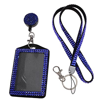 Purely Handmade Fashion Royal Blue Bling Crystal Lanyard Cute Rhinestone  Badge Holder With Necklace + Badge Reel + Vertical Business Card Holder