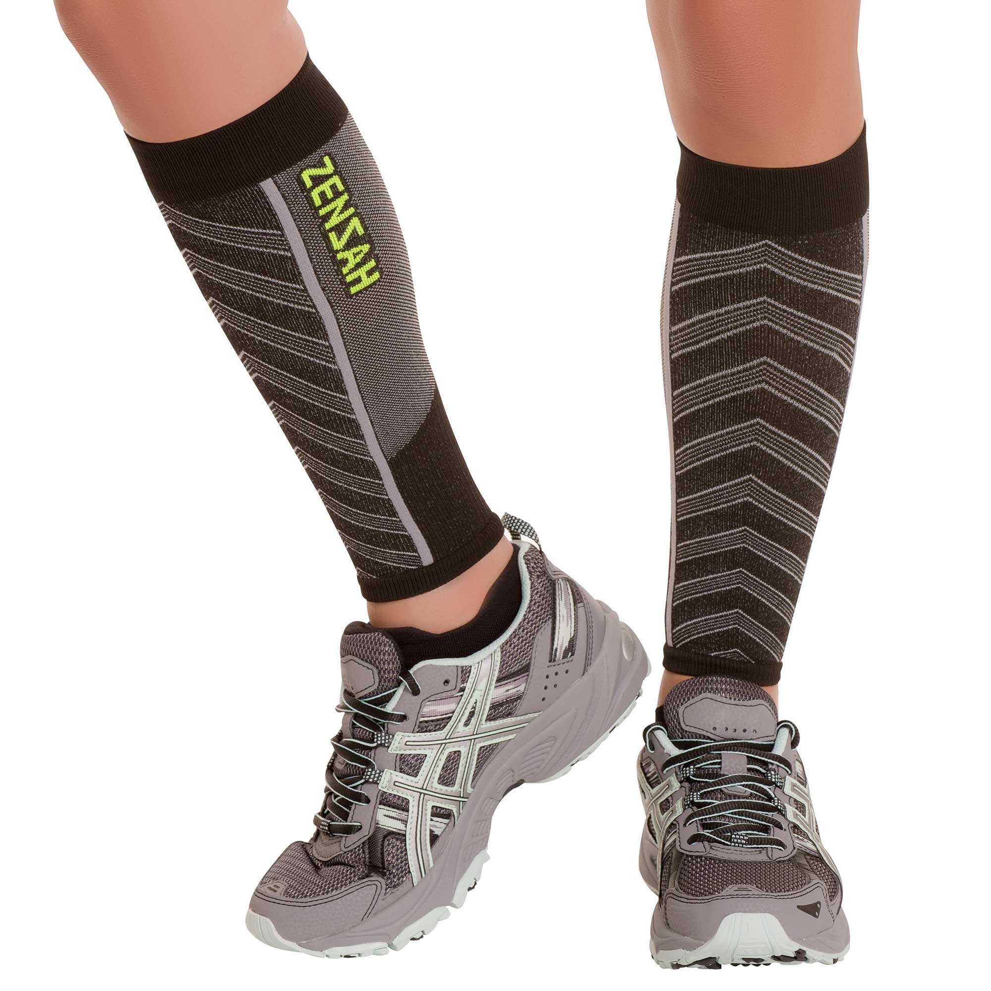 Featherweight Compression Leg Sleeves -Relieve Shin Splints (MD, Black) by Zensah