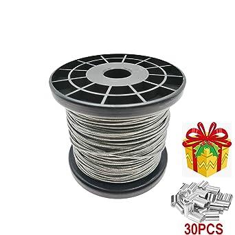 Amazon.com: Cable de acero inoxidable 304 con revestimiento ...