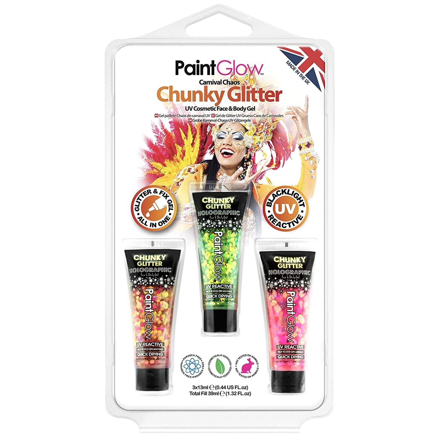 PaintGlow Carnival Chaos UV Chunky Glitter Face and Body Gel