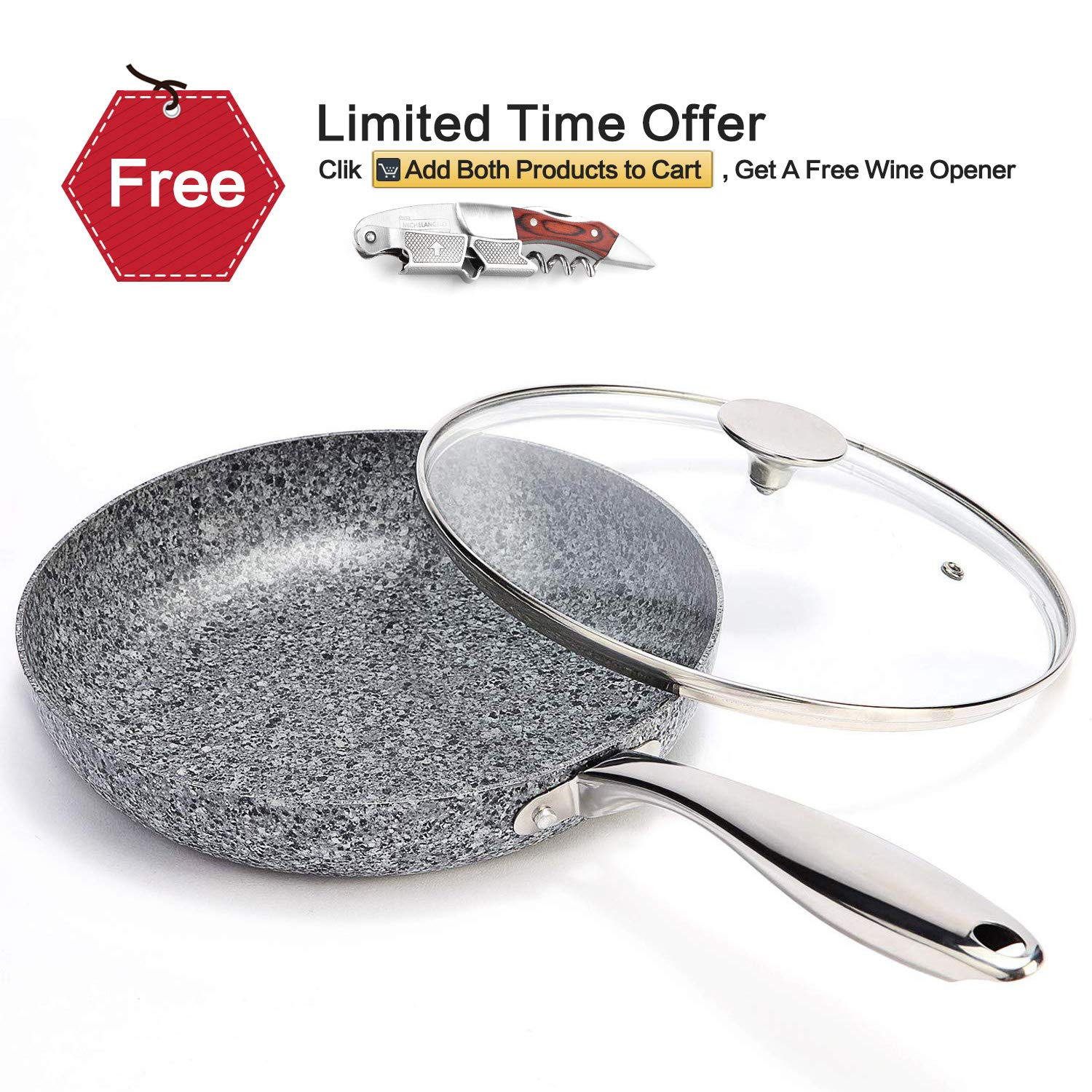 MICHELANGELO 10 Inch Frying Pan with Lid, Nonstick Stone Pan, 10 Inch Skillet with Lid, Granite Stone Pan Induction Compatible - Grey