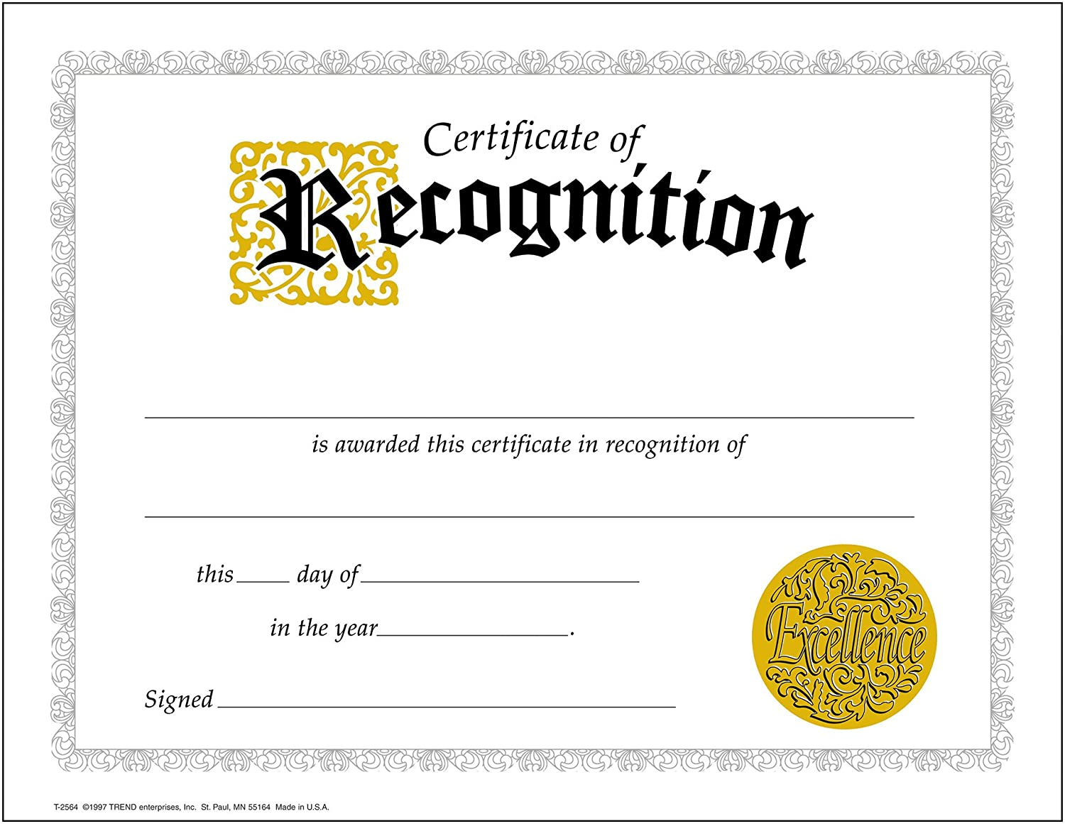 Amazon.com : Certificate of Recognition (Large) - 30 pack : Academic Awards And Incentives Supplies : Office Products