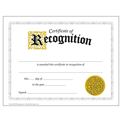 certificate of recognition large 30 pack