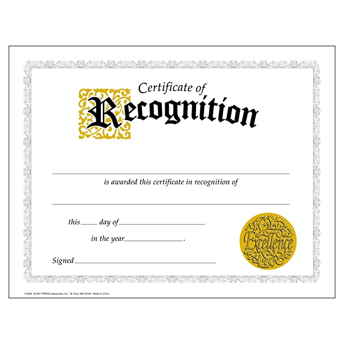 Amazon Com Certificate Of Recognition Large 30 Pack Academic