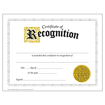 Amazon.com : Certificate of Recognition (Large) - 30 pack ...