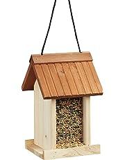 Relaxdays Comedero para Pájaros Colgante en Forma de Casa, Madera, Beige, 27 x