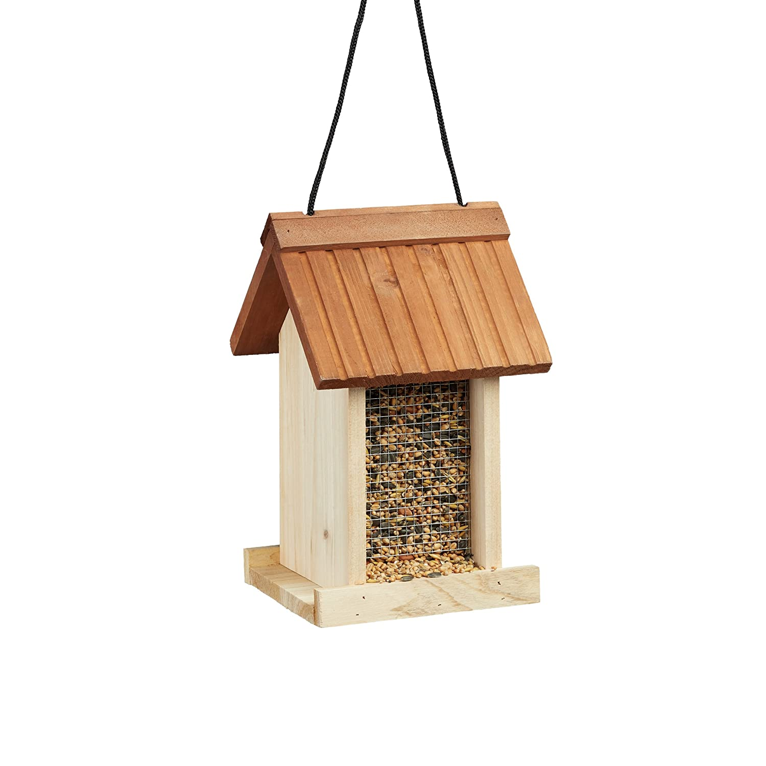 Relaxdays Wooden Birdhouse, Untreated, Hanging, No Stand, HxWxD: ca 27 x 17 x 18 cm, Brown