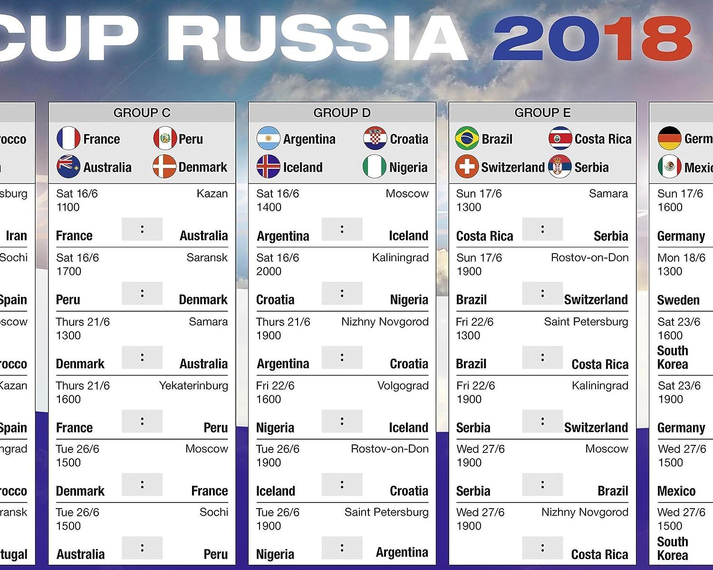 WM Schedule 2018 Soccer World Cup Russia (101,5cm x 68,5cm): Amazon.es: Hogar