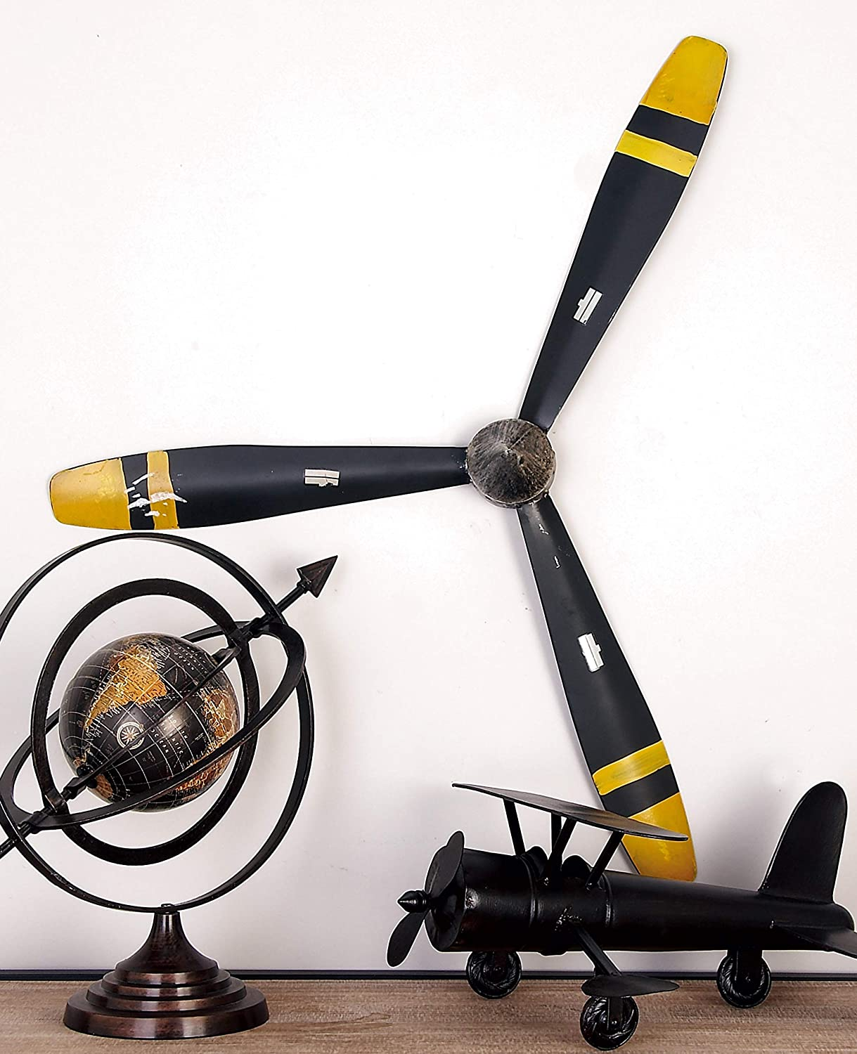 "Deco 79 Industrial Metal Propeller Wall Decor, 31"" H x 27"" L, Polished Black and Yellow"