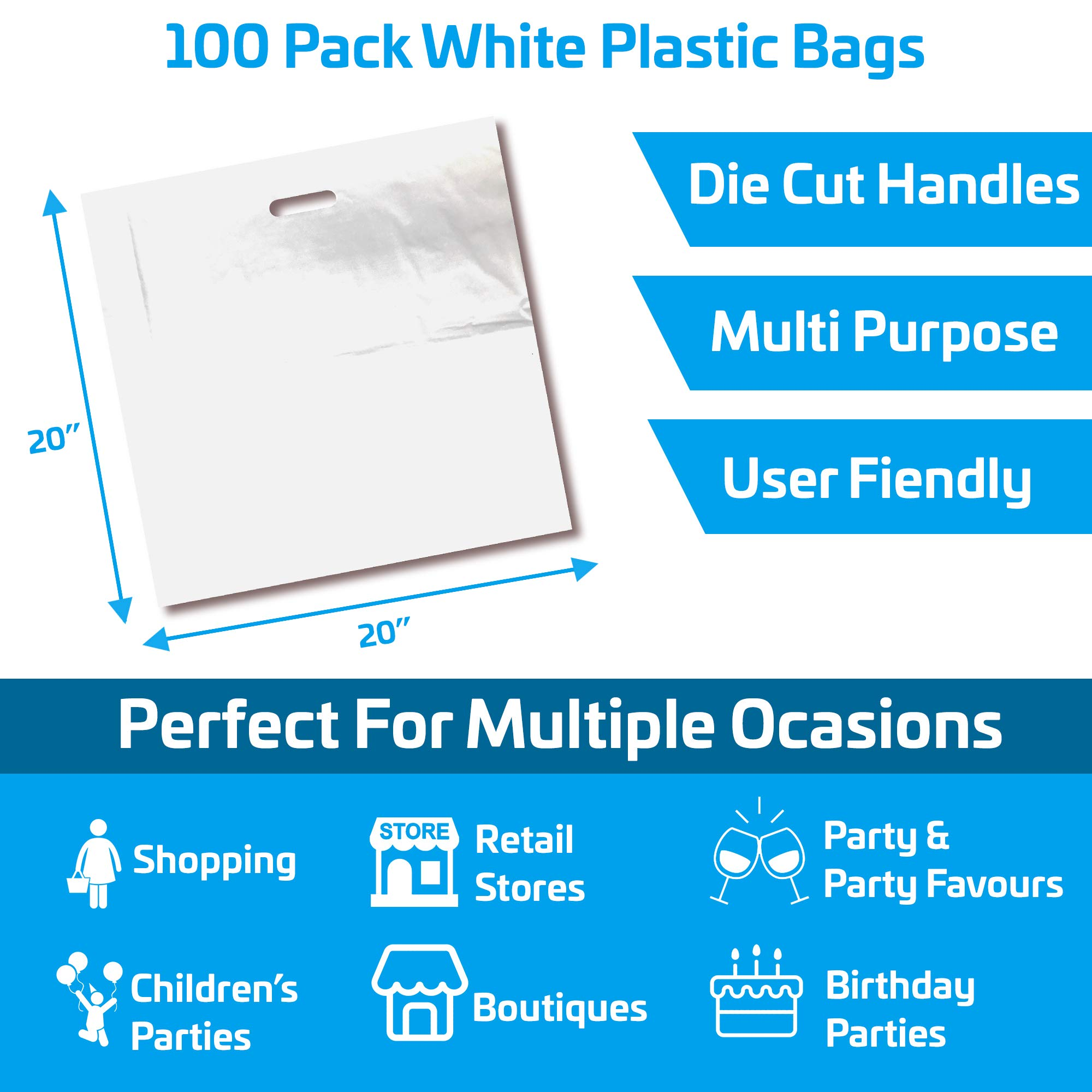 100 Pack 20'' x 20'' with 2 mil Thick Extra Large White Merchandise Plastic Glossy Retail Bags | Die Cut Handles | Perfect for Shopping, Large Packages, Children Toys | Color White | 100% Recyclable by Popular Plastic Bags (Image #2)