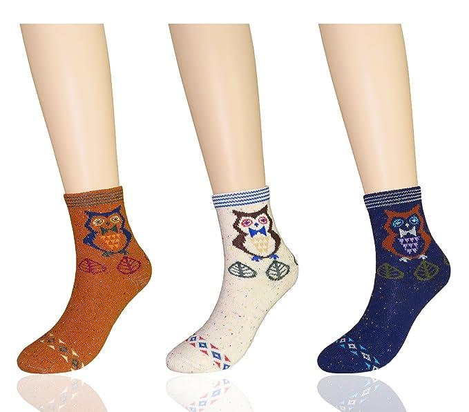 MYMYU Nuevo calcetines térmicos de lana de invierno gruesos ocasionales para mujeres paquete de 3 (