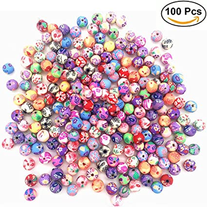 100 Mixed Color Flower Patterned Round Wood Beads~Wooden Beads 10mm