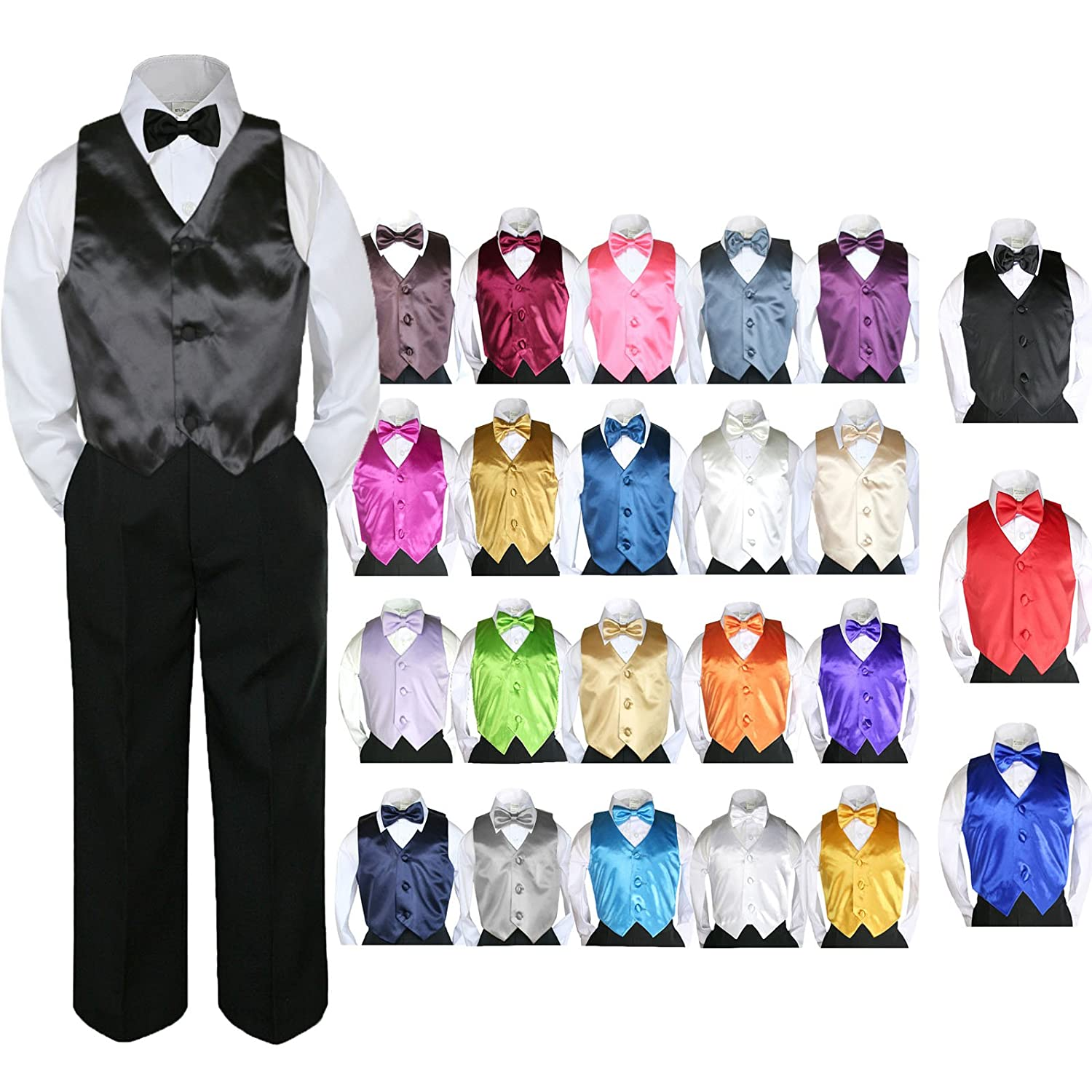 4pc Baby Toddler Kid Boy Party Suit BLACK Pants Shirt Vest Bow tie Set Sm-4T
