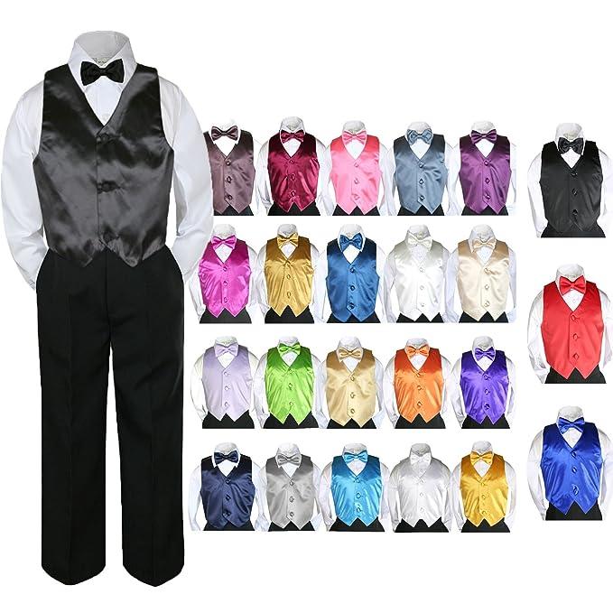 0d08a258bf362 Leadertux 4pc Baby Toddler Kid Boy Party Suit Black Pants Shirt Vest Bow  tie Set 5
