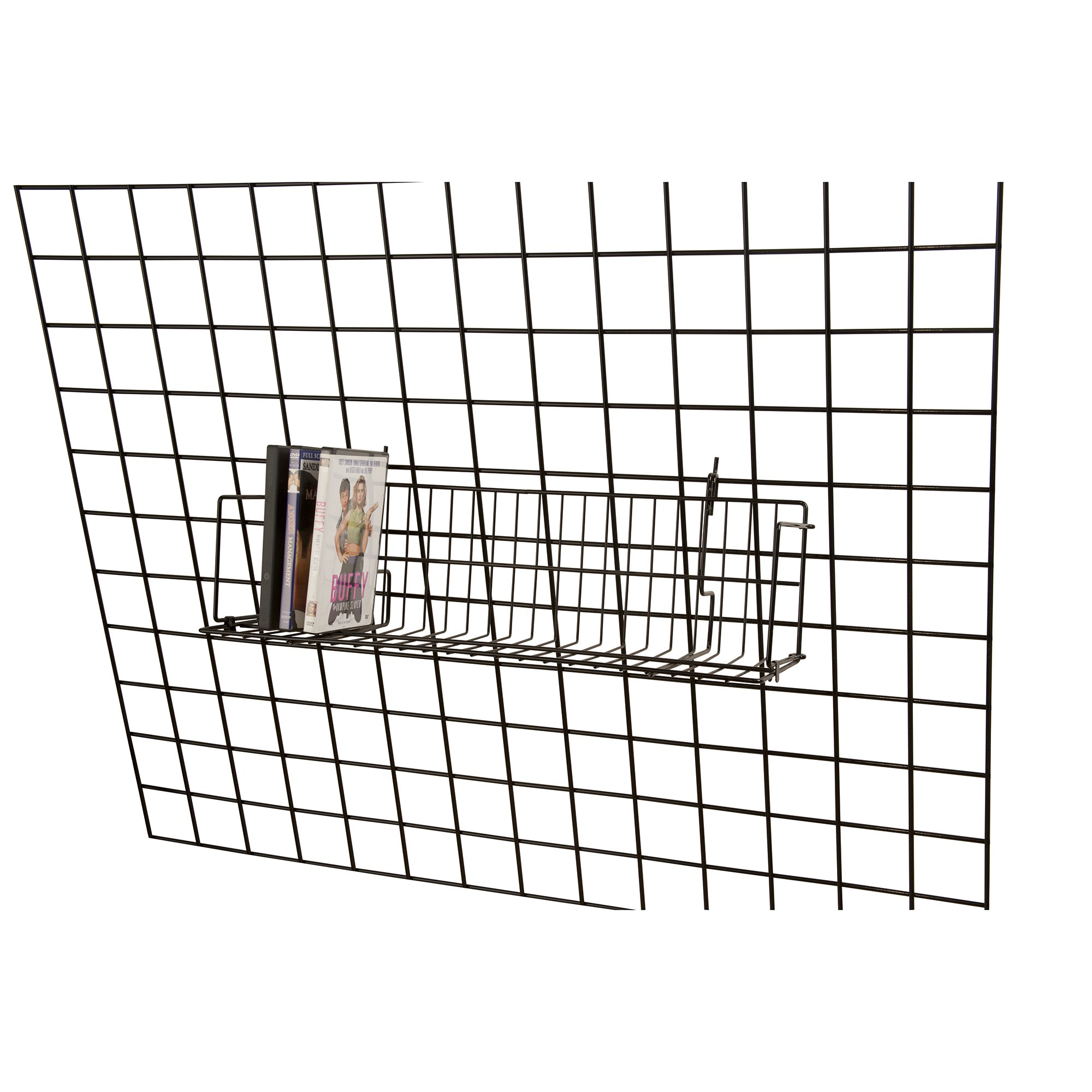 Lot of 6 Retail Black CD/DVD/Cassette Shelves For Grid 24''L x 6''D x 6½''H