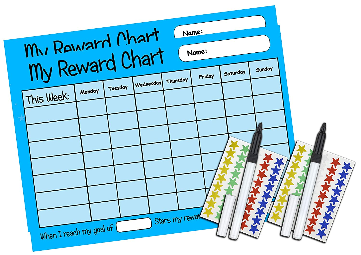 Happy Learners TWO Childrens Reusable Sticker Reward Charts Encourage good behaviour 2 x Blue chores A4 PINK BLUE YELLOW routines