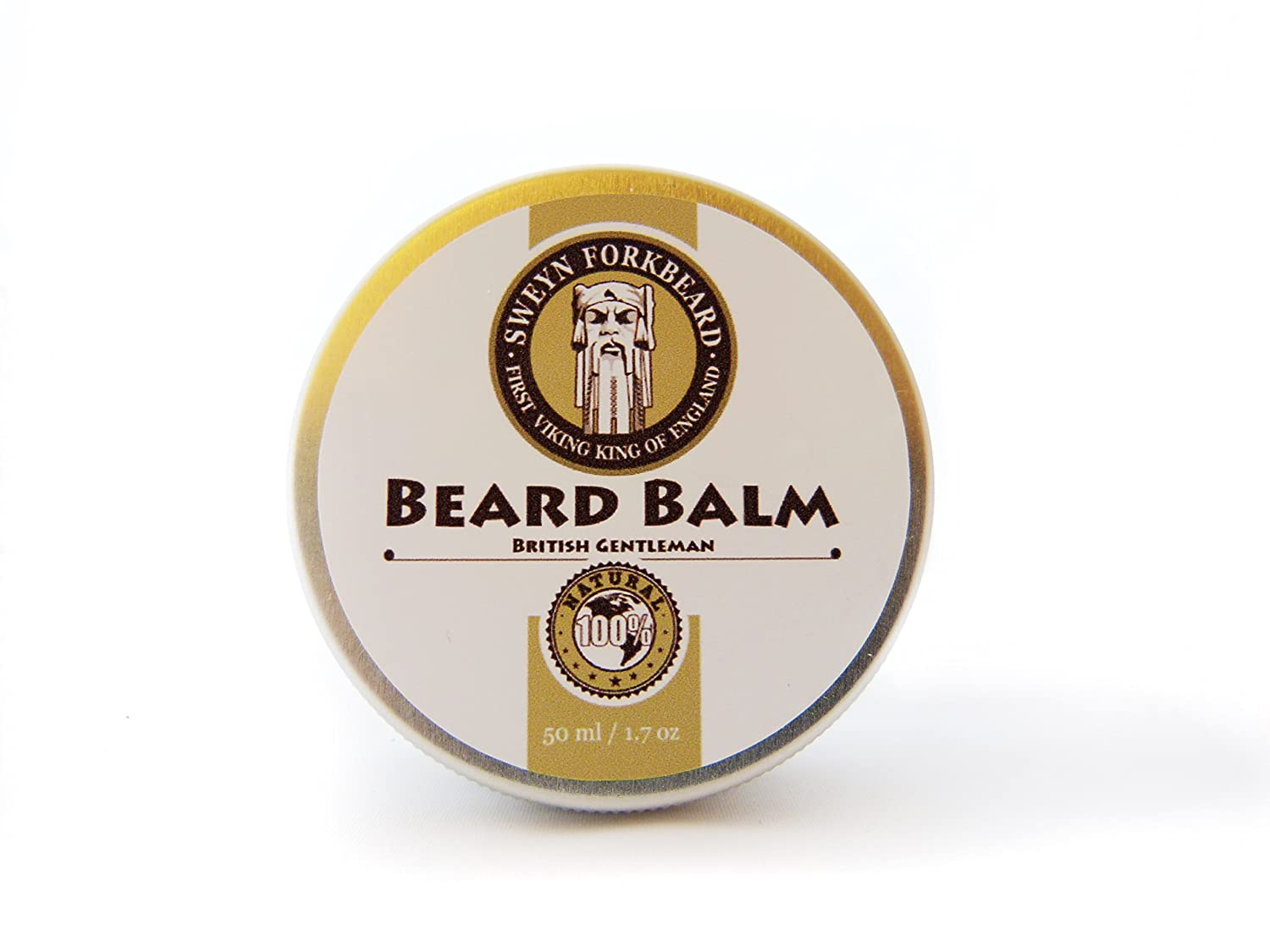 Beard Balm British Gentleman 100% Natural & Organic by Sweyn Forkbeard - A Beard Softener and Deep Conditioner For Men (30 ml/1oz Beard Balm British Gentleman)