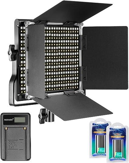 Todo para el streamer: Neewer Regulable Bi-Color 660 LED Luz Video 3200-5600K con Soporte U y Barndoor,2 Piezas Batería Recargable Ion-Litio y Cargador USB para Cámaras DSLR Estudio Fotográfico Youtube