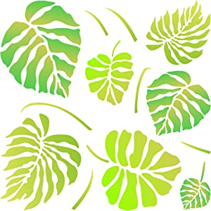 Monstera Leaves Stencil, 6.5 x 6.5 inch (S) - Large Tropical Philodendron Wall Stencils for Painting Template