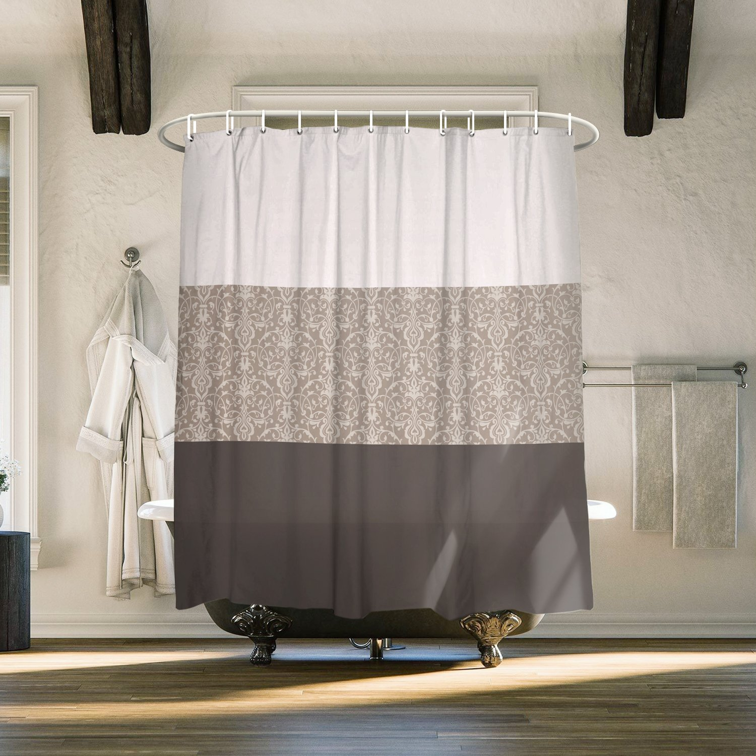 Cloud Dream Home Chateau Striped Shower Curtian Set,Waterproof 100% Polyester Fabric Shower Curtain for Bathroom,84 Inches Extra Long,Taupe