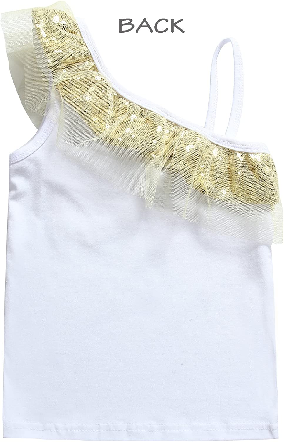 Cilucu Baby Girls Tees Toddlers Sequin Ruffles Cold Shoulder Tank Tops