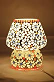 Glitz Hand made Table lamp, Ethnic Style (White Flower)