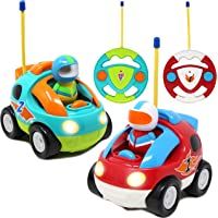 2 Pack Cartoon RC Race Car Radio Remote Control with Music & Sound Toy for Baby, Toddler, Children Cars, School…